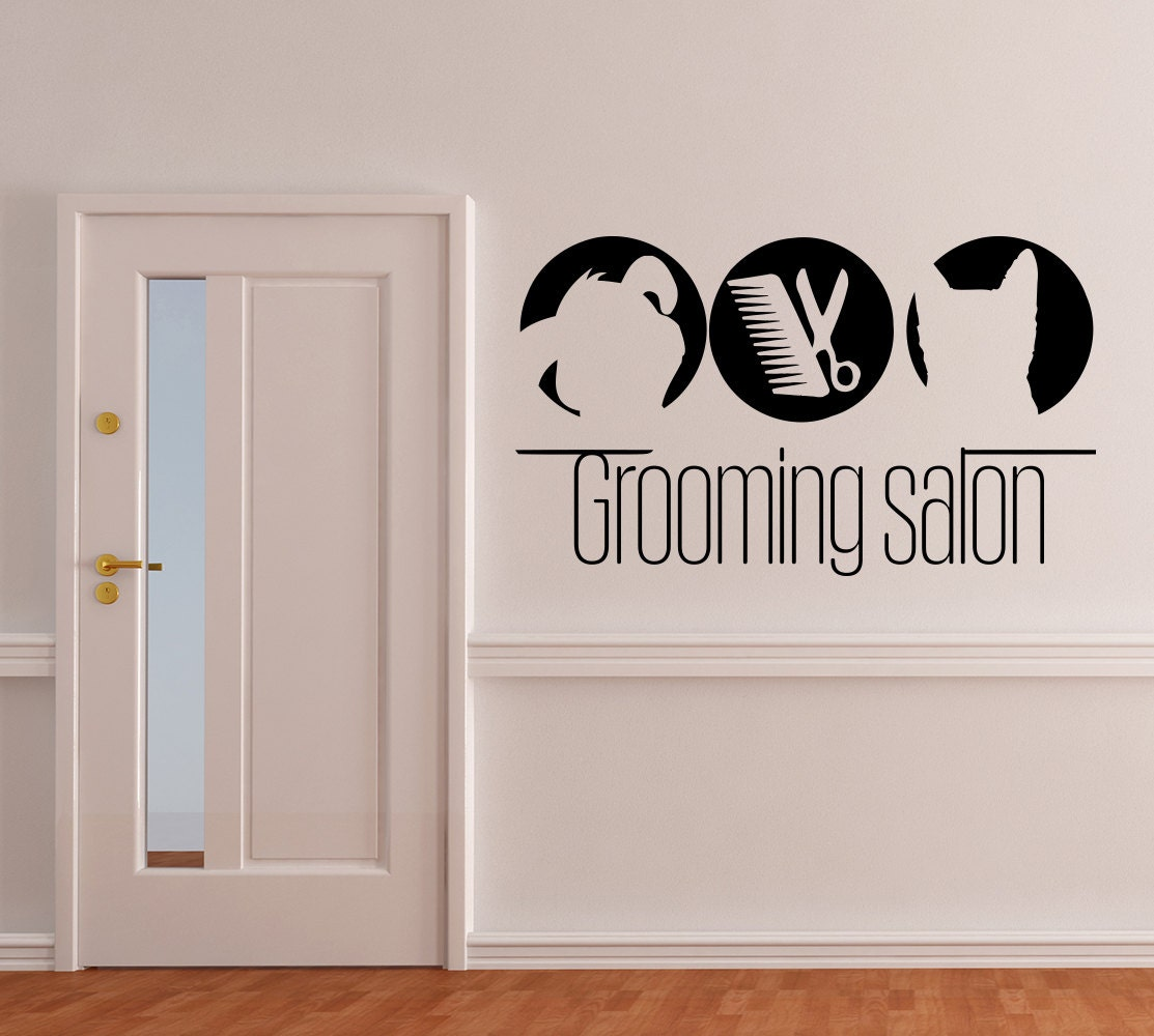 Wall decals domestic animals vinyl decal pets dog cat sticker for Stickers design salon