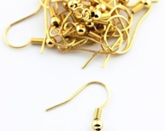 40+ Pcs Gold Plated Ear Wire Hooks Earrings with Bead and Coil Brass Findings Nickel Free 105747-CA25