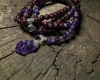 AMETHYST & GARNET Mala Beads for Third Eye, Heart Chakra  | 108 Bead Mala for Meditation, Yoga, Prayer Beads, Japa Mala