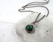 Malachite Wire Wrapped Pendant, Gemstone Necklace, Dainty Necklace, Gift for Her, Malachite Jewelry, Protection Stone, Heart Chakra