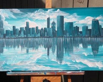 Chicago Skyline Reflection Painting Turquoise Grey and Peach
