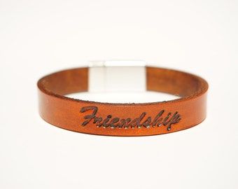 "Leather Friendship Bracelet - ""Friendship"""