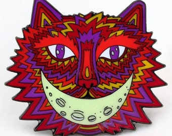 CHESHIRE CAT Inspired Hat PIN!!! Glow-in-the-Dark Alice in Wonderland Collectible!