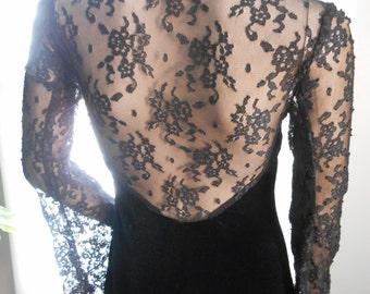 Scott McClintock Full Length Black Velvet Lace Evening Gown Size 4 Petite