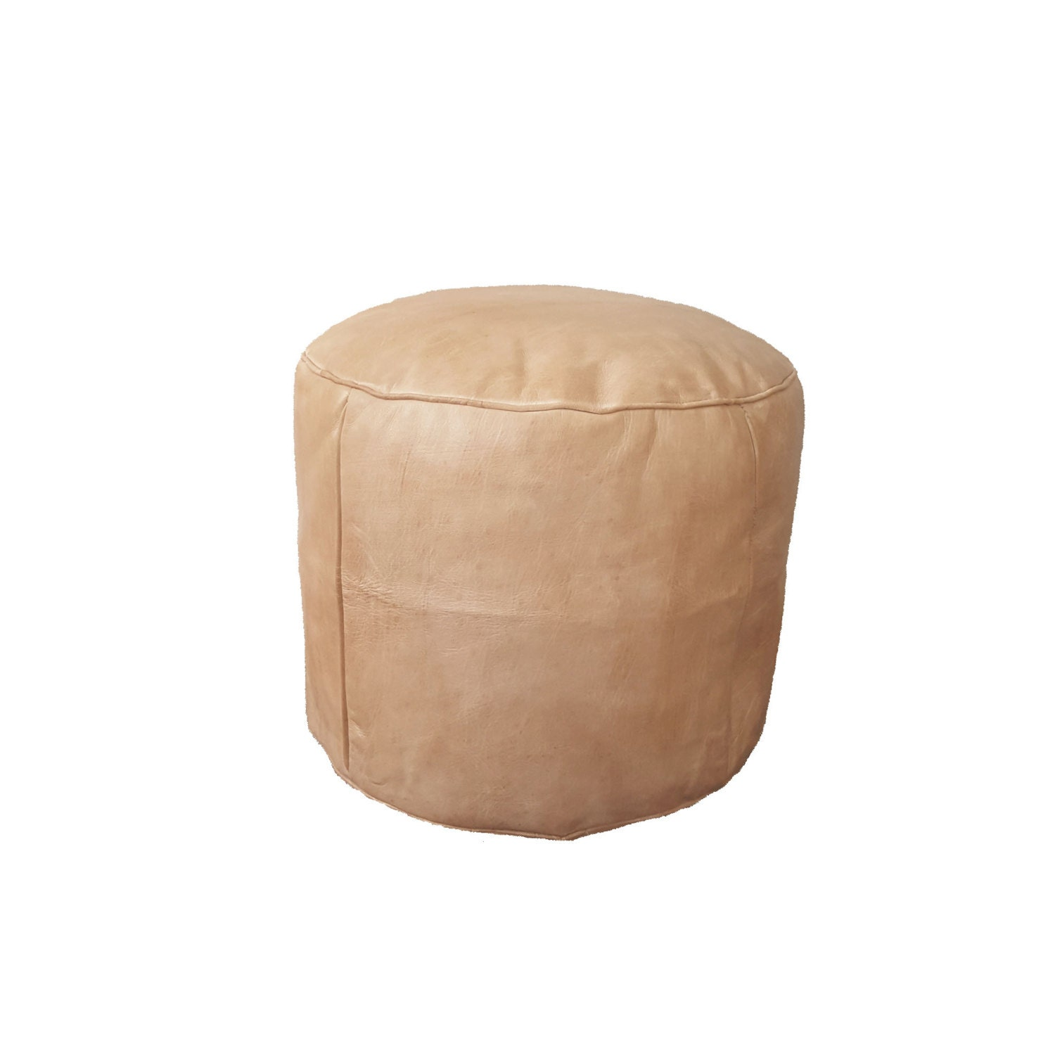 round leather pouf ottoman natural tan leather. Black Bedroom Furniture Sets. Home Design Ideas