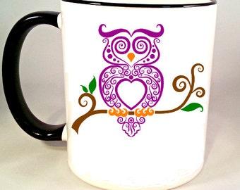 Fancy Owl Coffee Mug, Funny Coffee Mug, Owl Coffee Cup, Decorative Owl Mug, Funny Coffee Cup, Sublimated 11 oz Colored Handle & Rim 4 Colors