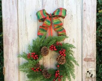 Sale Christmas Wreath,Natural Christmas Wreath,Classic Christmas Wreath,Christmas Front Door, Traditional Christmas Wreath, Plaid wreath