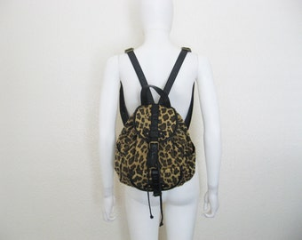 leopard Print Mini Backpack / vegan animal print purse