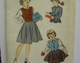 Vintage 1940s Advance 5577 Girl's Weskit, Skirt & Blouse pattern size 4  UNused