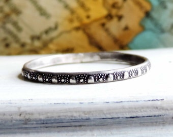Python Snake Stacking Ring | Gypsy Stax Organic Collection | Sterling Silver Band, Shiny, Brushed or Antique Oxidized Patina, Made to Order