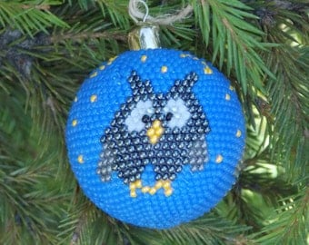 Gift for baby handmade owl decor bird ornaments Christmas decoration blue Ornament christmas owl ornaments bird decor christmas ornaments