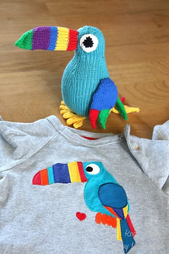 Toucan knitting pattern easy toy bird knitting pattern PDF