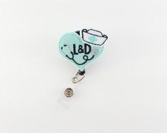 Mint Labor and Delivery - Felt Badge Reel - Nurse Badge Holder - RN Badge Reel - NICU - Retractable ID Badge Clip - Obgyn - L&D - Doctor
