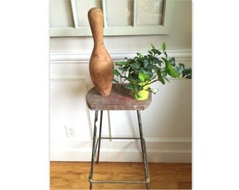 Vintage Wooden Bowling Pin Home Decor
