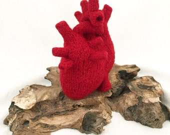 Plush Anatomical Heart, Felted Heart