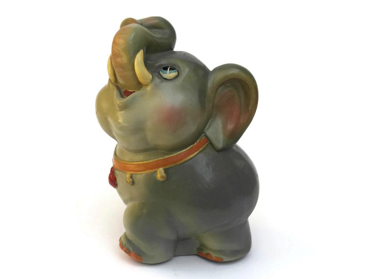 Vintage elephant coin bank ceramic money box nursery decor - Ceramic elephant piggy bank ...