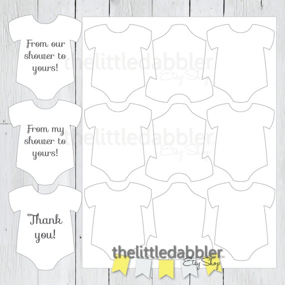 Baby Shower Mini Onesie Favor Thank You Gift Tag Template