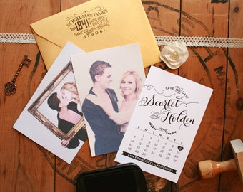 "Wedding Save the Date Stamp - DIY Save the Dates - Engagement Photos - Calendar Save the Date - 4"" x 5"""