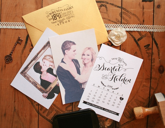"""Wedding Save the Date Stamp - DIY Save the Dates - Engagement Photos - Calendar Save the Date - 4"""" x 5"""" - Scarlet"""