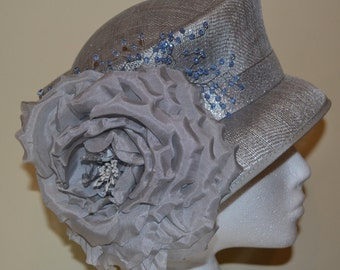 silver hat with crystal beading