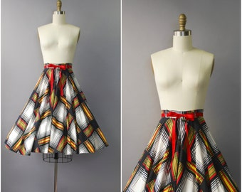 1950's Plaid High Waist Cotton Full Skirt • small