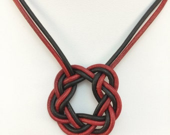 Red and black leather Celtic circle necklace - leather cord necklace with magnetic clasp