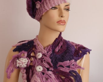 Unique Colorful White Purple Pink Freeform Crochet Bohemian COMBO Set of Hat Beret and  Scarf  for Women  -Winter Accessories
