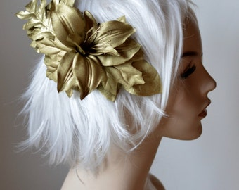 Golden Grecian Headdress with lily and fern leaves, fantasy costume goddess head piece, festivals, formal, burning man