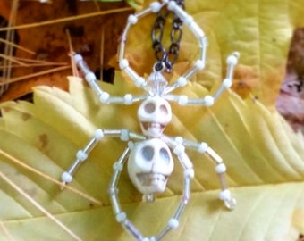 Skull Spider Black Chain Necklace