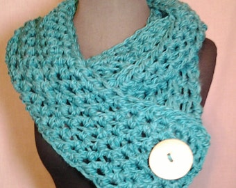 Teal Crochet Scarf with Natural Wood Button