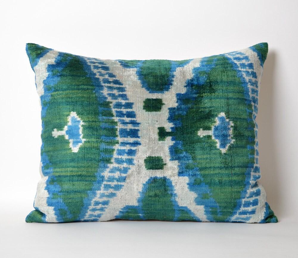 Green Ikat Throw Pillow : Blue Green Velvet Ikat Pillow Cover Decorative Couch Pillows