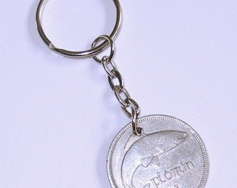 1951 Old Florin 2 Shilling Irish Coin Keyring Key Chain Fob 65th Birthday
