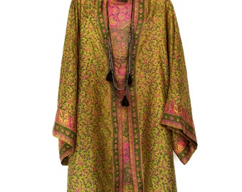 Silk kimono jacket / beach cover up / in a green and pink paisley, Indian border print