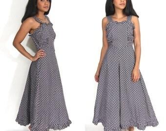 Vintage 30s 40s Black White Floral Lattice Print Cotton Sun Beach Maxi Day Dress