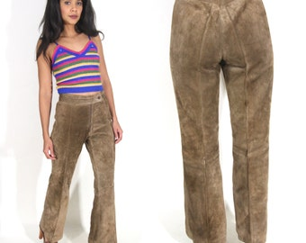 Vintage 70s Brown Suede Leather Bell Bottom High Waist Pants Jeans Hippie