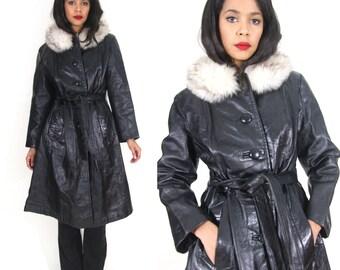 Vintage 70s Black Leather Silver Fox Fur Collar Belted Coat Jacket Hippie Glam