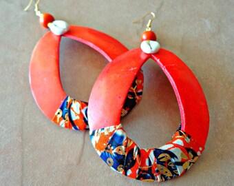 Large Hoop Earrings, Coconut Shell Earrings, Natural Jewelry, Tear Drop Shape Earrings, Large Shell Hoop Earrings, Shell Hoop Earrings
