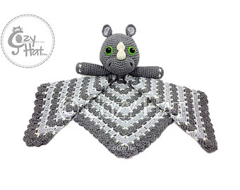 READY TO SHIP! Rhino Safety Blanket. Large Lovey. Hand Crocheted. Baby Shower Gift. Sale!