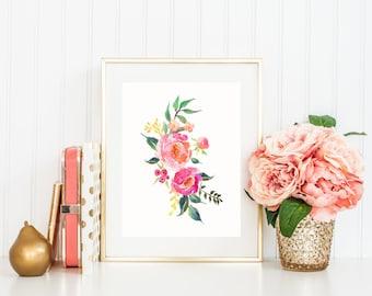 Watercolor Flower Print, Flower Bouquet in Hot Pink