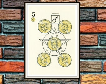 Five of Pentacles Knapp-Hall French Tarot Card Deck Vintage Retro 1929 Art Reproduction Print Poster Small