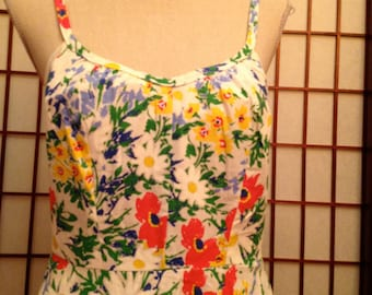 70's Floral Cotton Dress with Straps