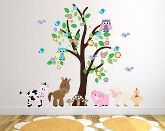Tree With Farm Animals Wall Stickers, Farmyard Wall Decals, Tree Wall Art, Animal Wall Transfer - Full Colour Wall Stickers - FP043