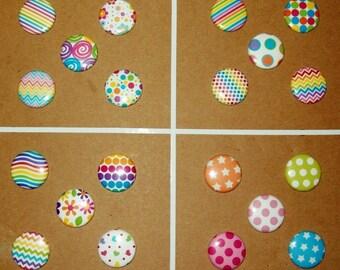 "Button Refrigerator Magnets, 1"", Set of 5, Choice of Designs - Springtime Mix Designs"