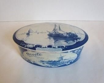 Vintage Delft Blue Tin Droste Oval Nautical Dutch Delftware Blue And White Decor Covered Box Object Dutch Design Souvenirs Vintage Gifts