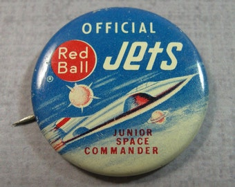 Pinback Button Red Ball Jets official Junior Space Commander promo
