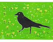 Grackle, 3 Color Linocut Relief Print, Bird, Hand Pulled Fine Art, Limited Edition, Printmaking Original