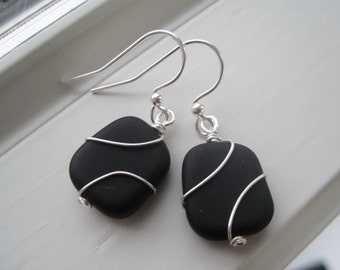 Black Earrings - Wire Wrapped Earrings - Glass Jewelry - Wire Wrapped Jewelry - Black Glass Earrings - Black Jewelry - Recycled Glass