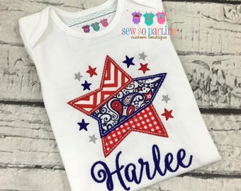 4th of July Baby Girl Shirt - Girl 4th of July Clothes - 4th of July Girl shirt - Independence day Clothes - July 4th Girl Outfit