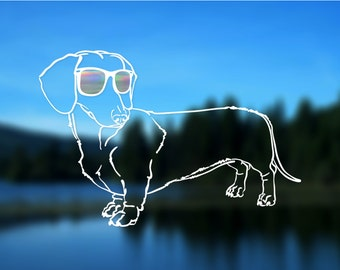"Dachshund Decal FULL BODY, Dog, Vinyl Decal, Car Decal, Bumper Sticker, 6"" decal"