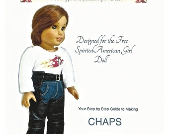 Original CHAPS PATTERN for American Girl dolls or similar 18-inch dolls created by Rhinestones to Rubies